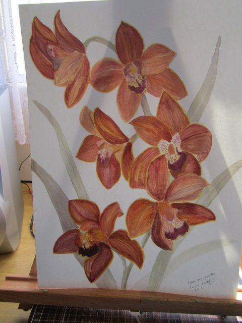 orchids from my garden in water colour