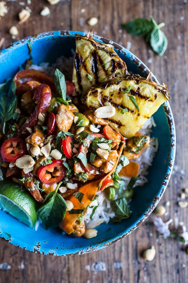 30 Minute Sweet Thai Chili Peanut Chicken and Grilled Pineapple Stir Fry | halfbakedharvest.com @hbharvest