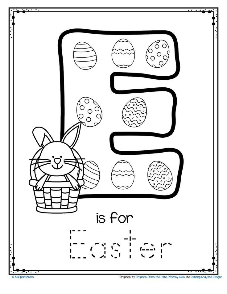 FREE Alphabet letter E is for Easter activity worksheet