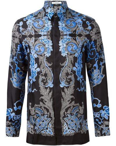 Versace Herren Seidenhemd mit Blumen-Print -30% reduziert