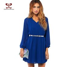 2017 zomer vrouwen dress lange mouw taille elastische chiffon korte casual dress voor vrouwen plus size feestjurken vestidos nc-406(China (Mainland))