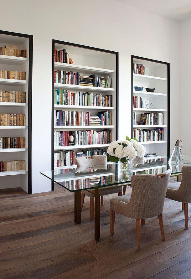 Black border around white bookcases