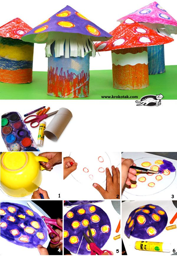 MUSHROOMS- these colourful mushrooms will help you to make up stories with the kids as you work.