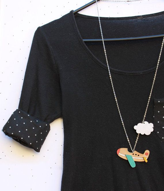 Wooden Laser Cut Aeroplane Necklace by solittletimeco on Etsy, $40.00