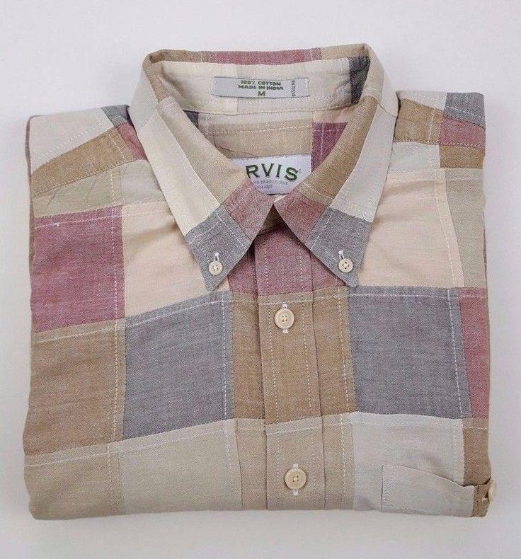 ORVIS Indian MADRAS Shirt MEDIUM Checked PATCHWORK Mens MULTICOLOR Sz COTTON Man #Orvis #ButtonFront