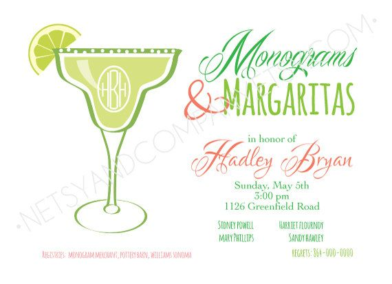 Monograms and Margaritas Bridal Monogram Shower Preppy Coral Lime Chevron Wedding Download Printable Party 2 sided 5x7 horizontal Invitation