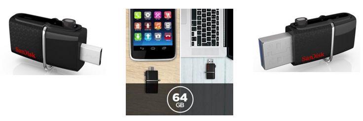 ¡Chollazo! Memoria USB 3.0   MicroUSB SanDisk Ultra Dual 64GB OTG sólo 13.99 euros.