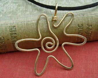 Spirale Sun Star ciondolo collana - gioielli di filo d