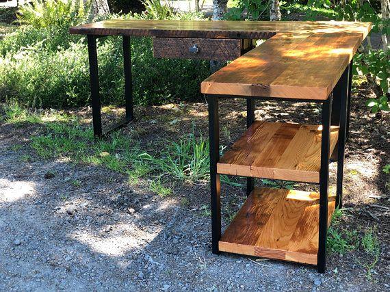 L Shaped Desk With Shelves Industrial Desk Reclaimed Wood Desk
