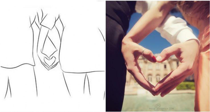 Кисти двух скрещенных рук создают сердце. Крупный план!