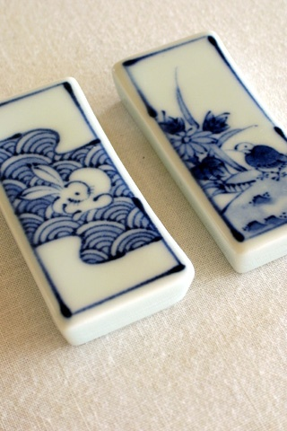 Old Imari chopstick rests; these have been made in thousands of designs.