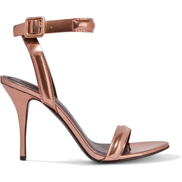 Alexander Wang Antonia metallic leather sandals (£198) ❤ liked on Polyvore featuring shoes, sandals, rose gold, strappy high heel sandals, metallic leather sandals, alexander wang shoes, high heeled footwear and alexander wang sandals