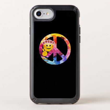 #Peace Sign Hippie Emoticon Watercolor Art Speck iPhone Case - #emoji #emojis #smiley #smilies