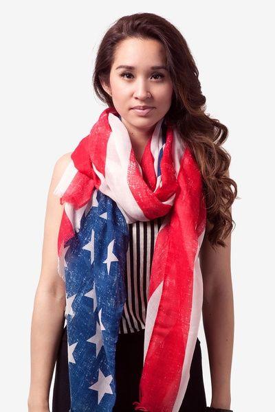 Blue Viscose Rustic American Flag Scarf