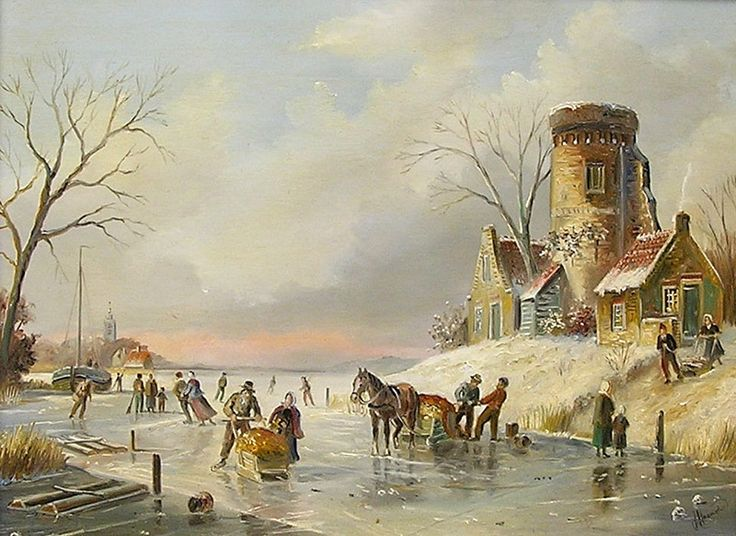 Schilderij winterlandschap - John Haanstra - Schaatsers op het ijs - Olieverf op paneel - 18 x 24 cm. -