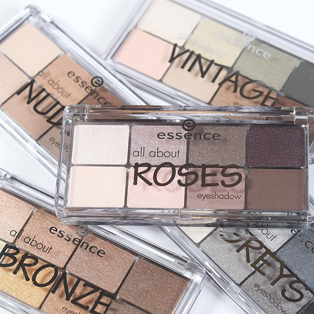 "our ""all about … eyeshadow palettes"" with various effects like matt, shimmering or metallic create lots of different looks heart #essence #essencecosmetics"