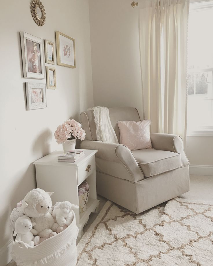 Neutral White, Gold, And Blush Pink Nursery. Beige Rocker. Glider. Baby  Girl. Rocking Chair. Pink Flowers. Hydrangeas. Framed Art. Wall Gallery.