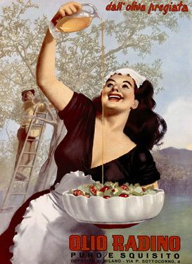 Olio Radino This is a vintage fine art giclee print by Gino Boccasile featuring Olio Radino, fresh olive oil, advertisement. A woman gets nothing but the freshest olive oil to top her colorful salad.*