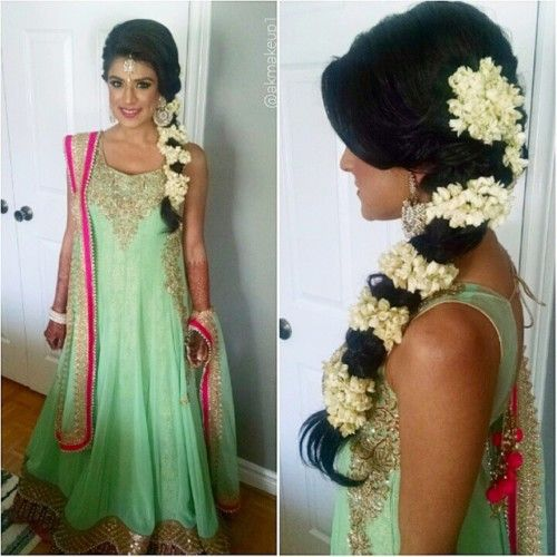 braid and flowers sangeet hairstyle