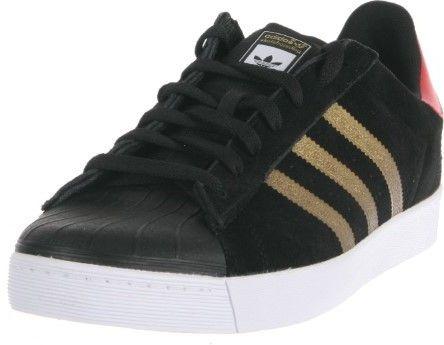 adidas Superstar Vulc ADV (Core Black/Metallic Gold/Collegiate Red) Men's Skate Shoes-9.0