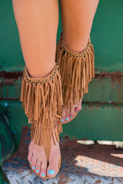 Walk To Remember Mid-Calf Fringe Sandals (Tan) - NanaMacs.com - 2