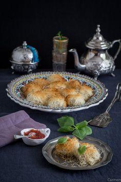 Nidos de pasta kataifi con berenjena