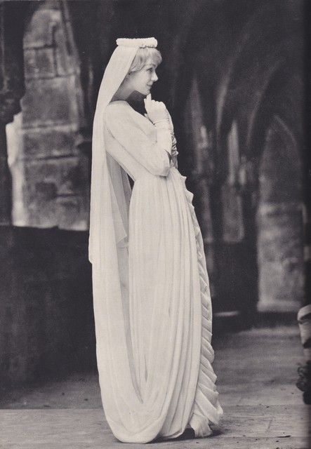 Vintage wedding dress; veil and headpiece made up of the dress' train