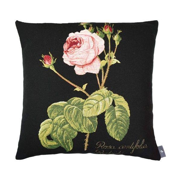 Black cushion woven in France by Tissage Art de Lys Rose fond noir - Coussins - Art de Lys