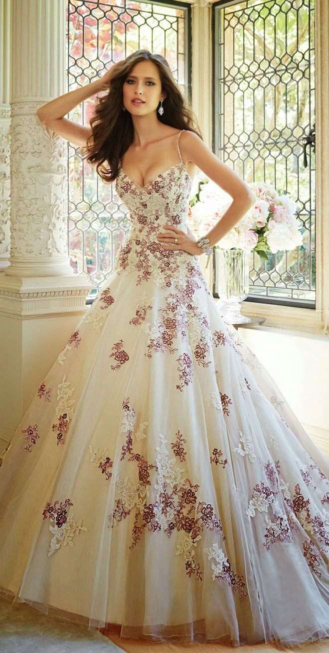 Gorgeous splashes of red by Sophia Tolli