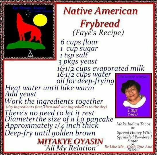 Frybread. I have not tried this recipe ever before. My grandmother taught me to make fry bread. My Navajo sister-in-law taught me to make fry bread her way and another friend of mine taught me to make fry bread her way with the sugar. This is the first time I've seen this recipe.