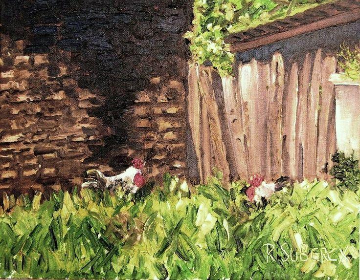 """""""gallinas jugando en la hierba"""".... òleo sobre tela"""