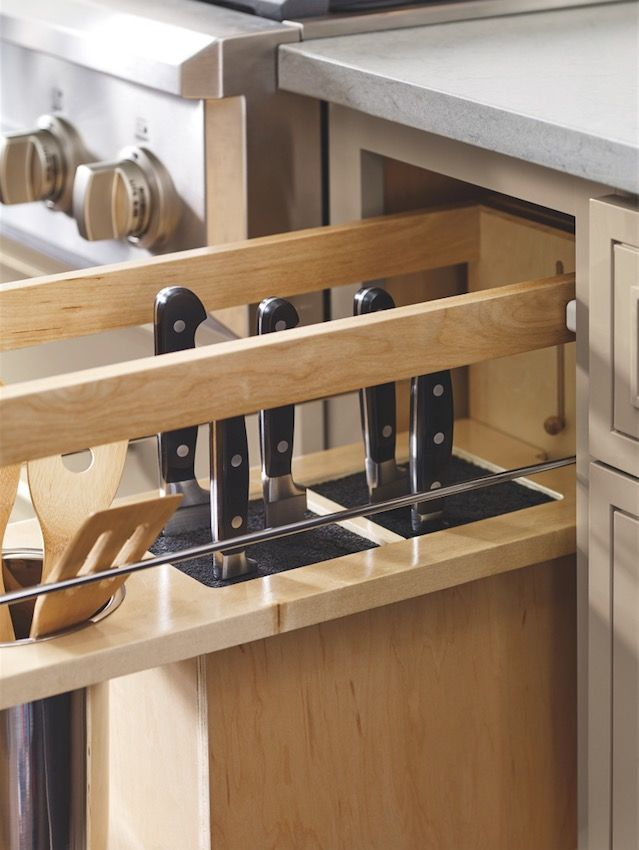 Decora's new Base Utensil Pantry Pullout with a hidden knife block was one of acclaimed designer Danny Seo's top picks from #KBIS2016. For anyone who shares Danny's sentiment about organized, clean countertops, this innovative drawer is a must!