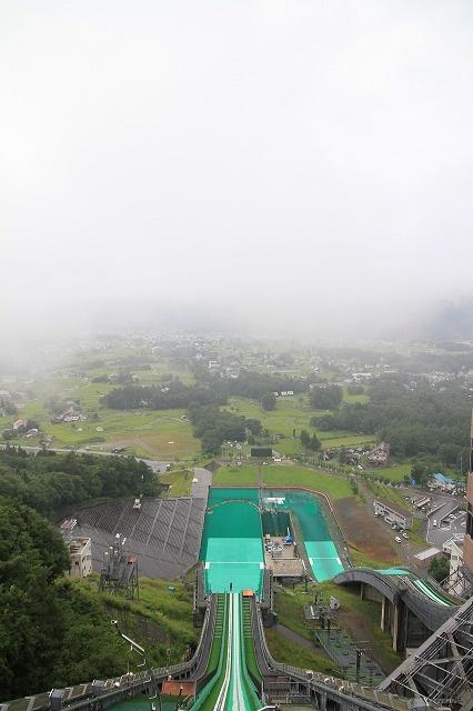 a large hill jumping slope at Nagano, Japan.