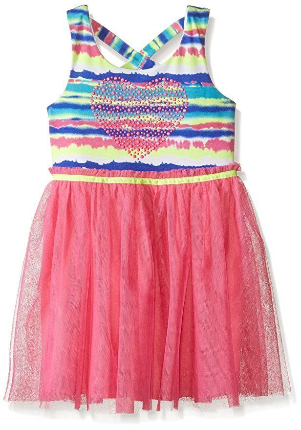 NWT Girls LILT Tie Dye Studded Heart Knit Mesh Skirt Sleeveless Dress Size 5 5T #Lilt #MeshSkirtBallerina #EasterEverydayHolidayParty