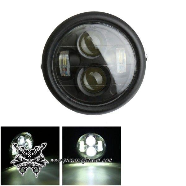 57,7€ - ENVÍO GRATIS - Faro Delantero 12V Negro LED 6,5 Pulgadas para Moto Tipo Cafe Racer Custom Jeep Harley Davidson