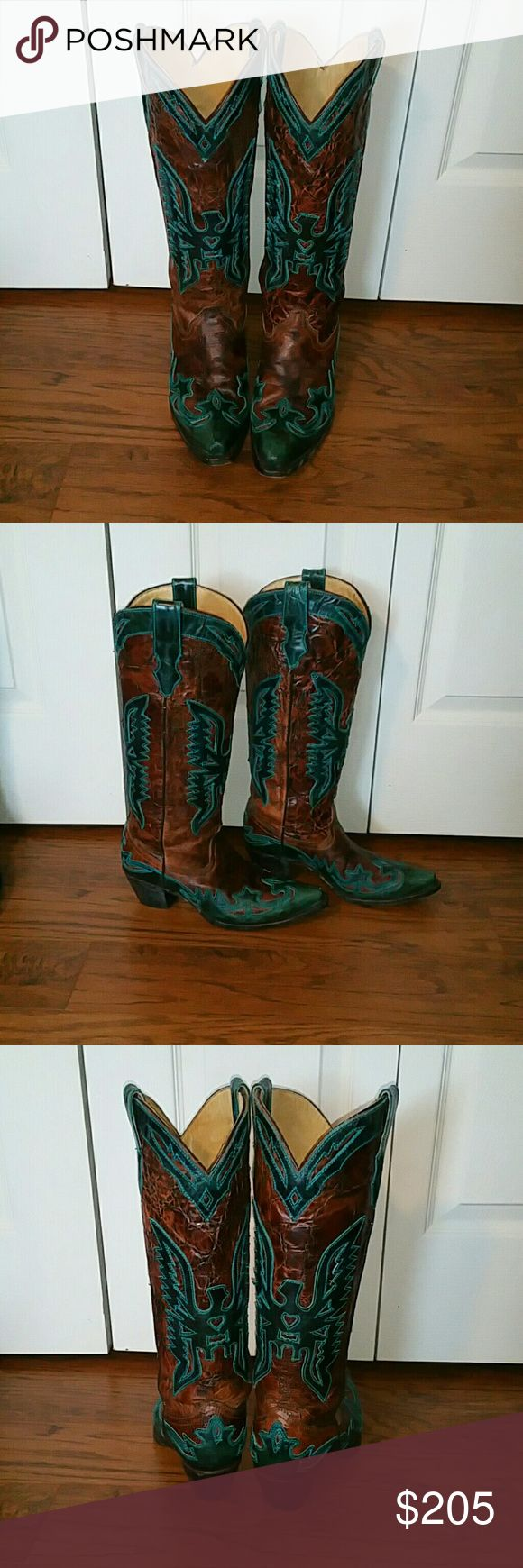 CORRAL cowboy eagle thunderbird ariat boots Corral boots in good used condition...show signs of wear...have scuffs and scratches....no major gouges...**ITEM AS IS**SALE FINAL**NO RETURNS** Corral Shoes