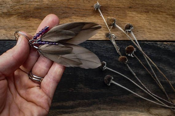 )))))Smokey Plumes((((( This set of earrings are made with collected Smokey grey Rouen duck feathers. Five magical amethyst beads nest within the feathers. The hoops are made of hypoallergenic stainless steel and measure 2 cm. The length of the earrings are about 7.5cm. Each set