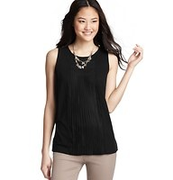 Pleated Knit Shell - A beautiful front pleated inset lends amazing allure to this casual slubbed shell. Scoop neck. Sleeveless. Banded neckline. Gathered at back neck.