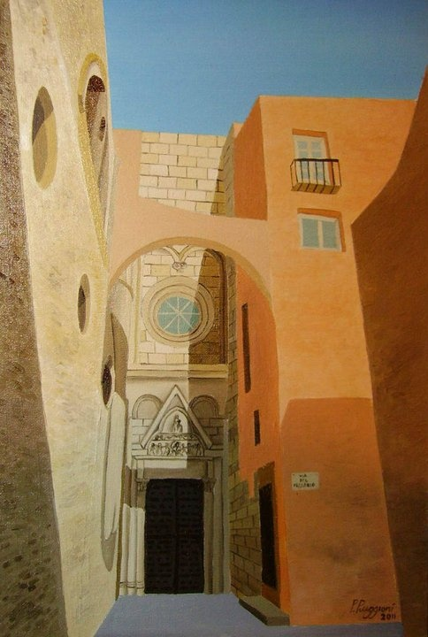 """the cathedral of Cagliari ( transept )   oil on canvas panel 20"""" x 30"""""""