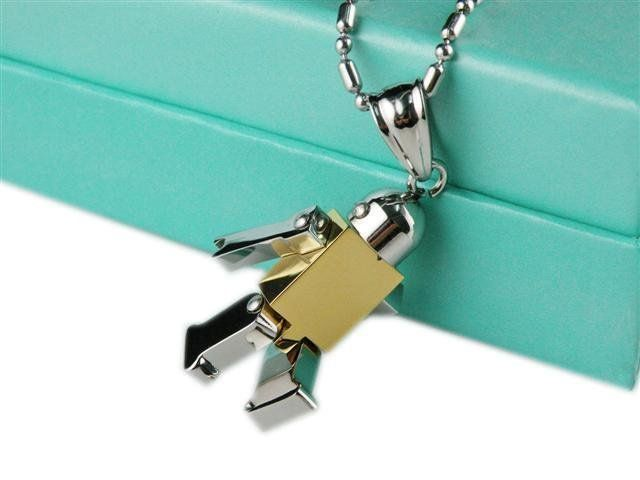 Cute little Stainless Steel and Gold IP Robot Pendant with free moving arms and legs. http://lily316.com.au/shop/ladies/unisex-stainless-steel-and-ip-robot-pendant/