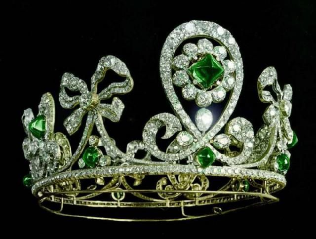 """""""THE EMERALD AND DIAMOND DIADEM ROCOCO OR 1901 by Bolin was created for the last Russian Empress Alexandra, who was notes first and last official owner. Known are several at official portraits of Alexandra, done between 1901 to 1910, where clause she posed in this . diadem After the Revolution of 1917 the diadem was lost;. story notes and current owner are unknown """""""