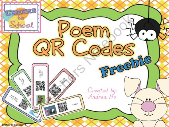 Poems QR Codes Freebie from Cheers To School on TeachersNotebook.com -  (16 pages)  - Poem QR Codes connecting poetry and nursery rhymes from YouTube videos.  Great for your nursery rhymes and poetry unit!