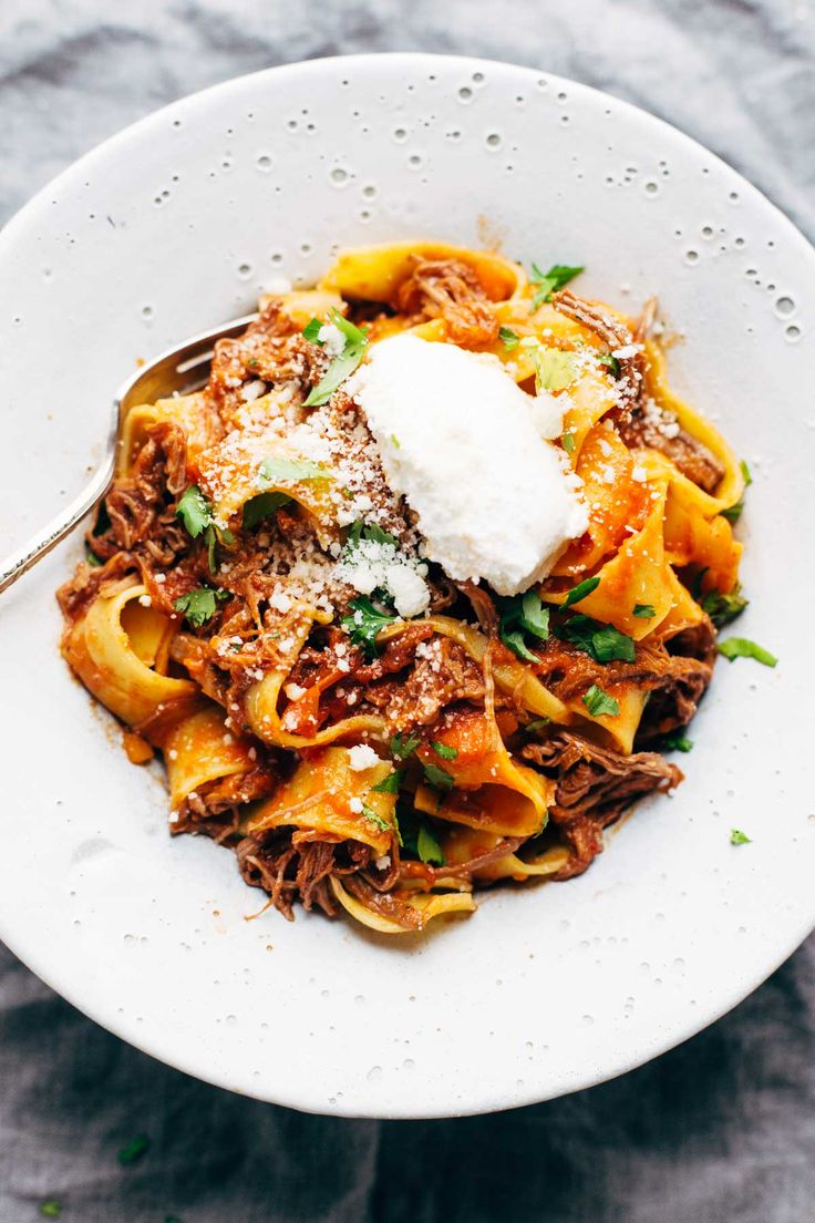 Slow Cooker Beef Ragu with Pappardelle - easy comfort food from the new Skinnytaste cookbook! | pinchofyum.com food photography, food styling, learn food photography