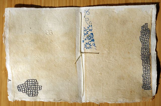 Book Pages Embroidered in Blue - Teabag Drawings by Patti Roberts-Pizzuto