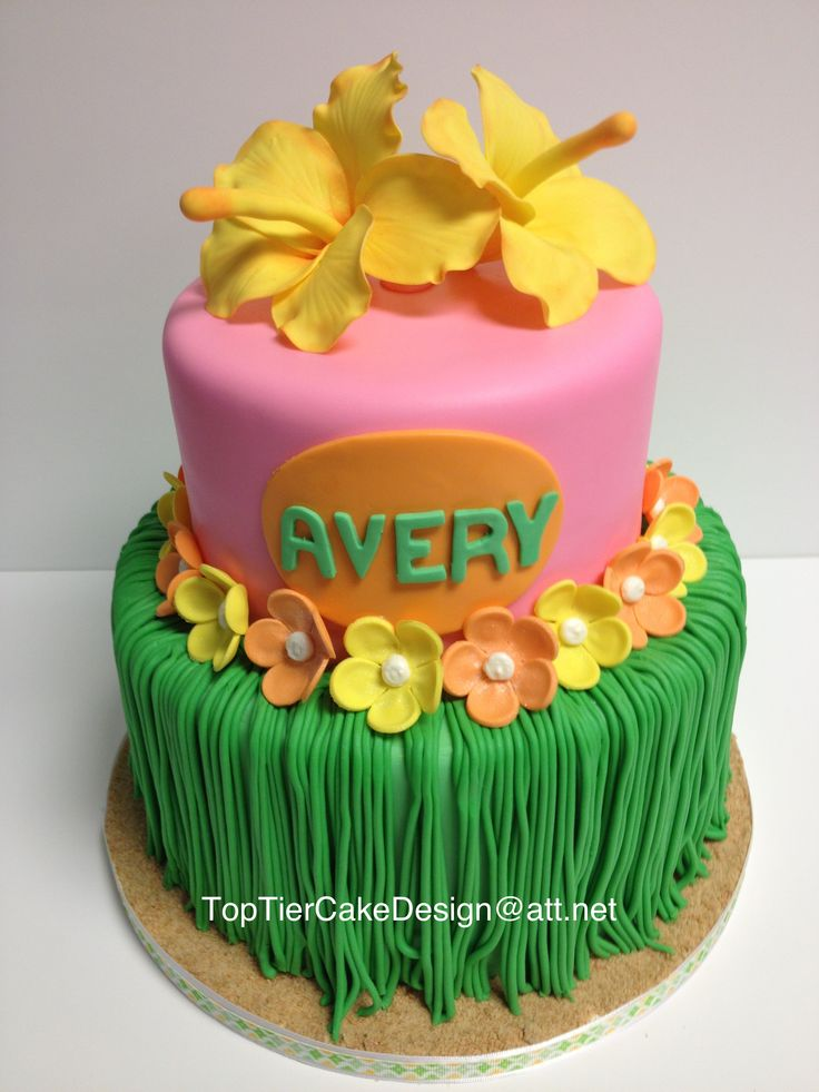 Hawaiian Grass Skirt cake is made from fondant and gum paste.