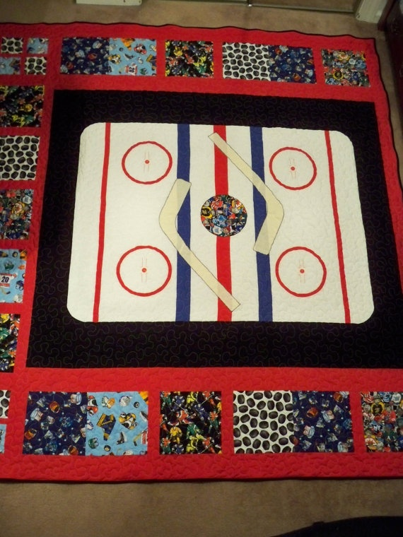 Full Size Custom Team Hockey Quilt by LittlePatches on Etsy, $250.00