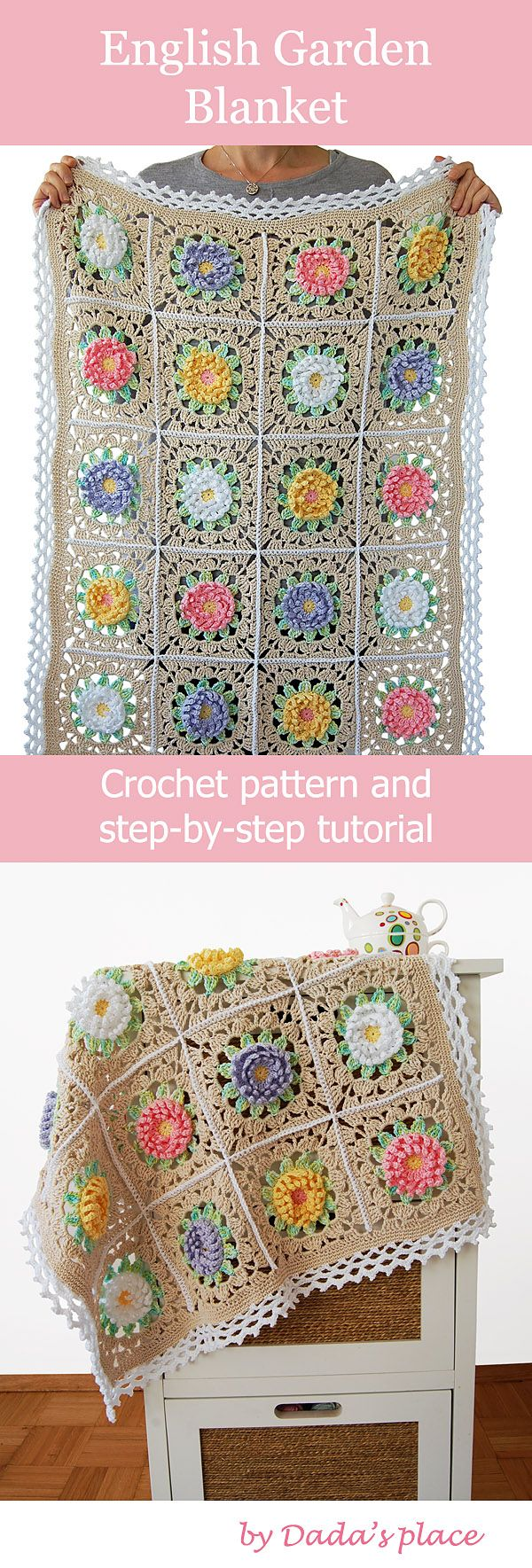 Beautiful and romantic, this English Garden crochet baby blanket is easy to make…