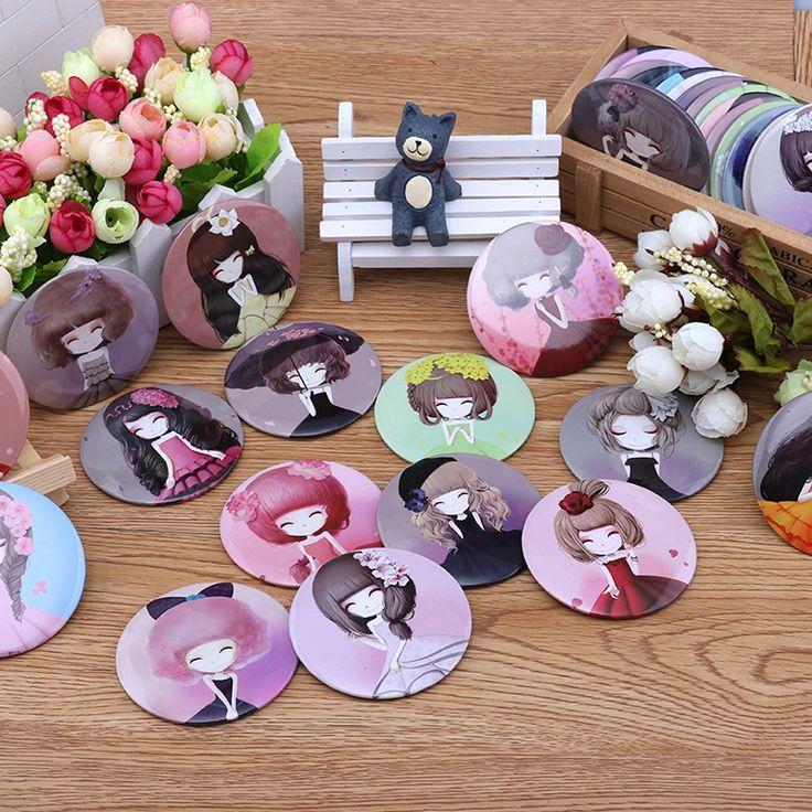 임의의 소녀 미니 포켓 메이크업 거울 화장품 컴팩트 거울 Espelho ...
