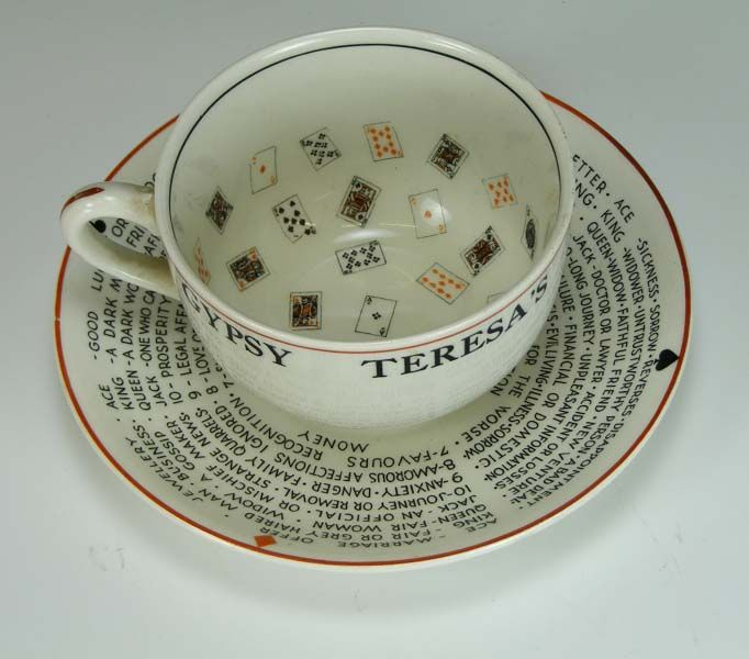 Gypsy Teresa's Fortune Telling cup and saucer, J Meaken and Co., 1930s