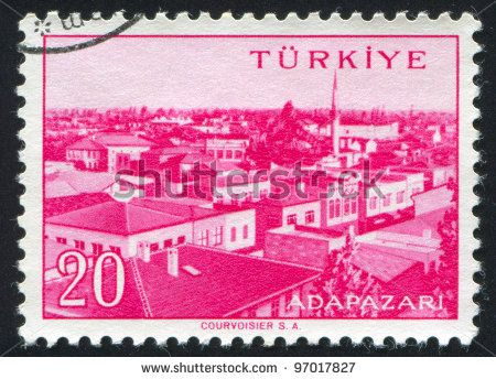 TURKEY - CIRCA 1959: stamp printed by Turkey, shows Turkish city, Adapazari, circa 1959. - stock photo